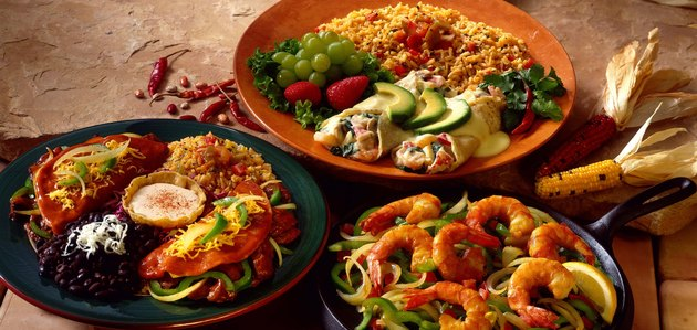 Fajitas , seafood and beef enchiladas