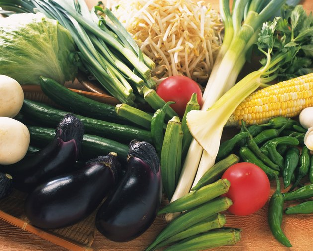 Variety types of vegetables, high angle view