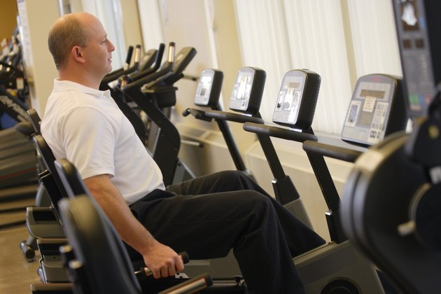 Man on exercise machine