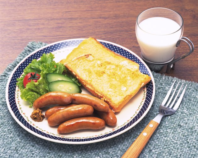 French Toast and Sausage, Breakfast, High Angle View