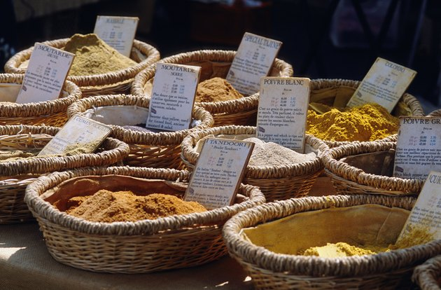 Powders in baskets