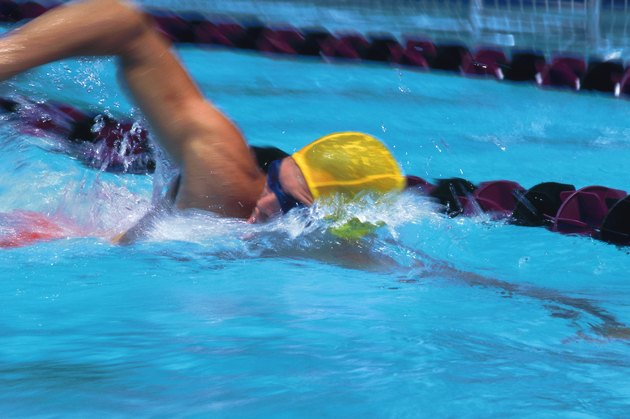 Competitive swimmer in pool