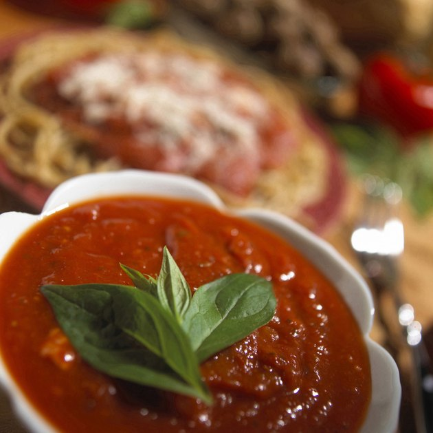 Close-up of a tomato based sauce in a bowl