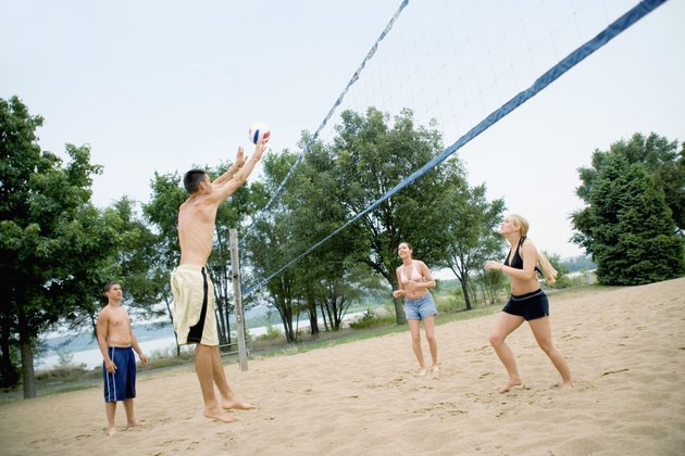 People playing a volleyball game