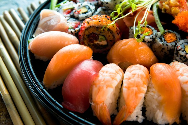 Assortment of sushi on platter
