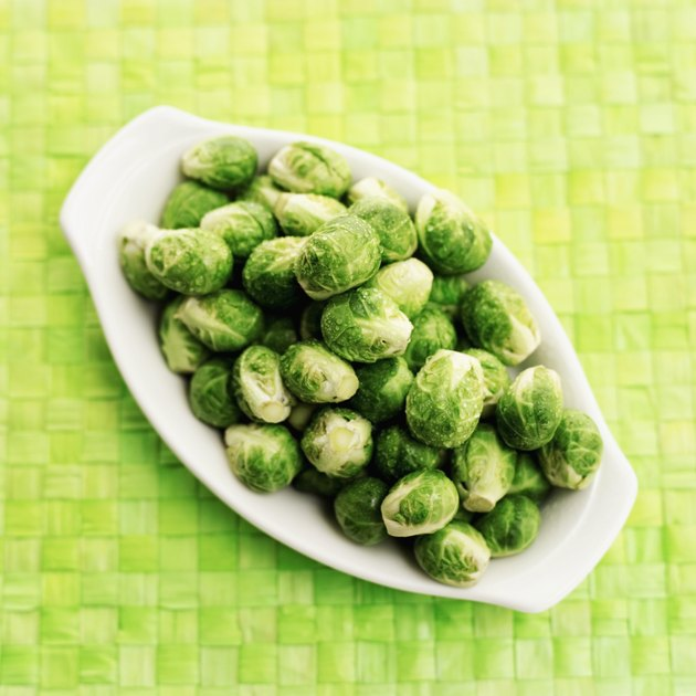 Elevated view of a bowl of Brussels sprouts