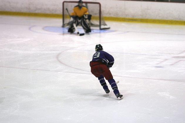 Player skating towards goal