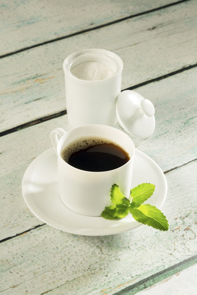 Pot of stevia sweetener and coffee