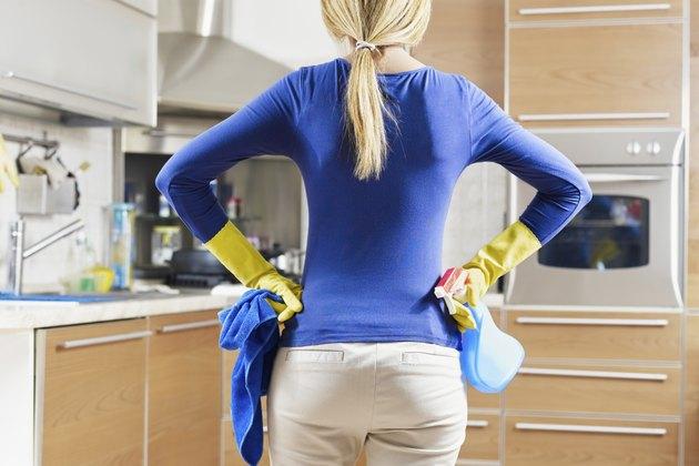 woman doing housekeeping