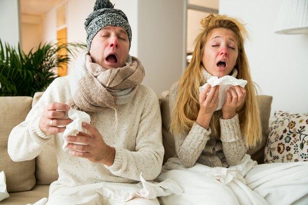 Sick couple catch cold