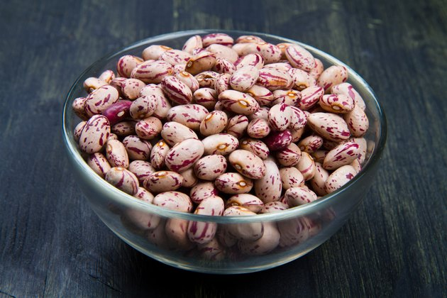 pinto beans on glass bowl