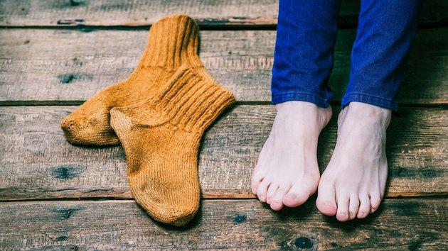 Barefeet and socks