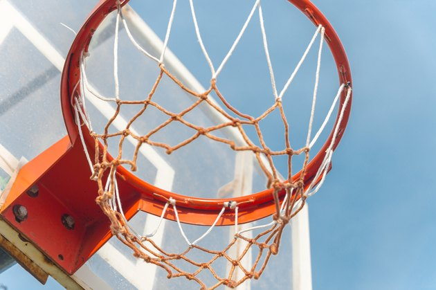 Red Basketball Hoop with White Net