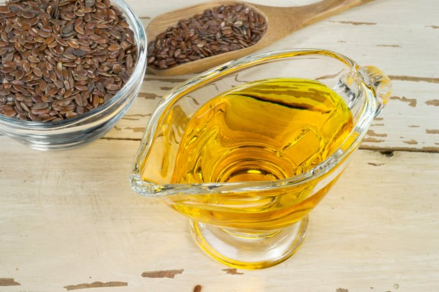 brown flax seed and linseed oil