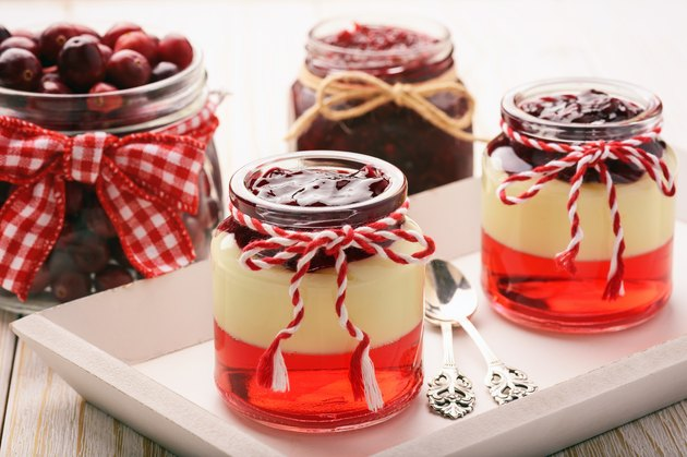 Dessert - berry jelly with vanilla pudding and jellied berries.