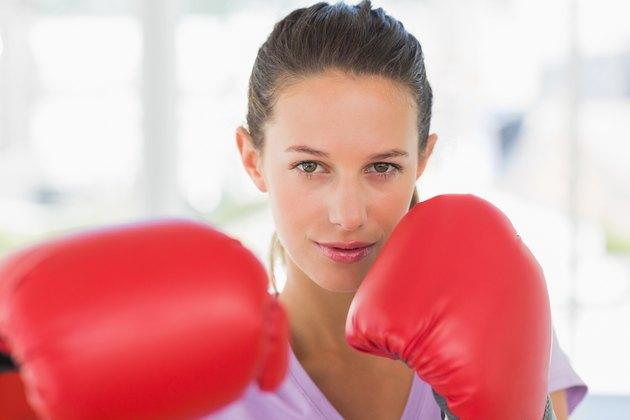 Closeup portrait of a determined female boxer