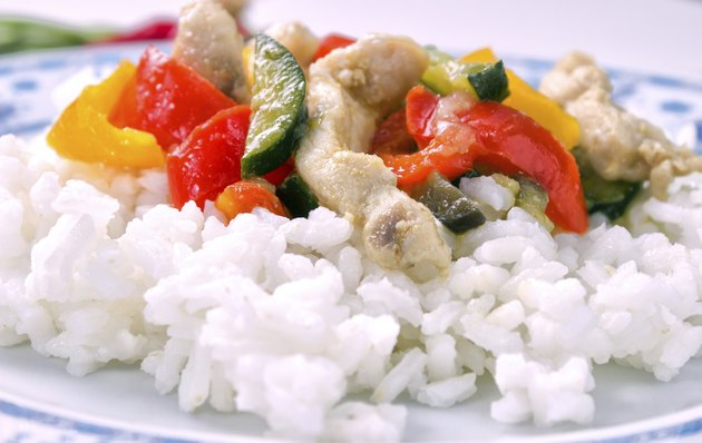 White rice with meat and peppers