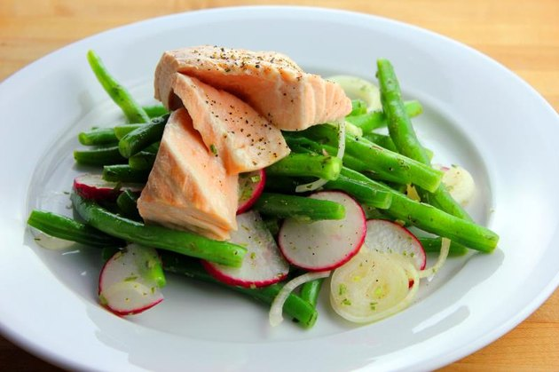 Poached salmon with green beans and radish salad