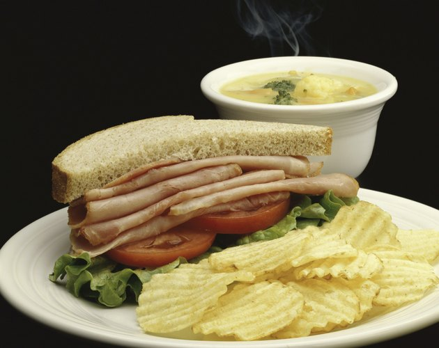 Ham sandwich with potato chips and soup