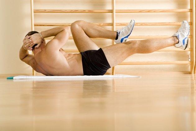 Man doing crunch exercises