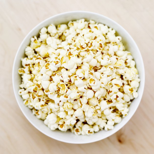 elevated view of a bowl of popcorn