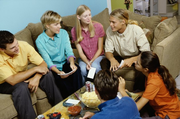 Group of teenagers having a group discussion