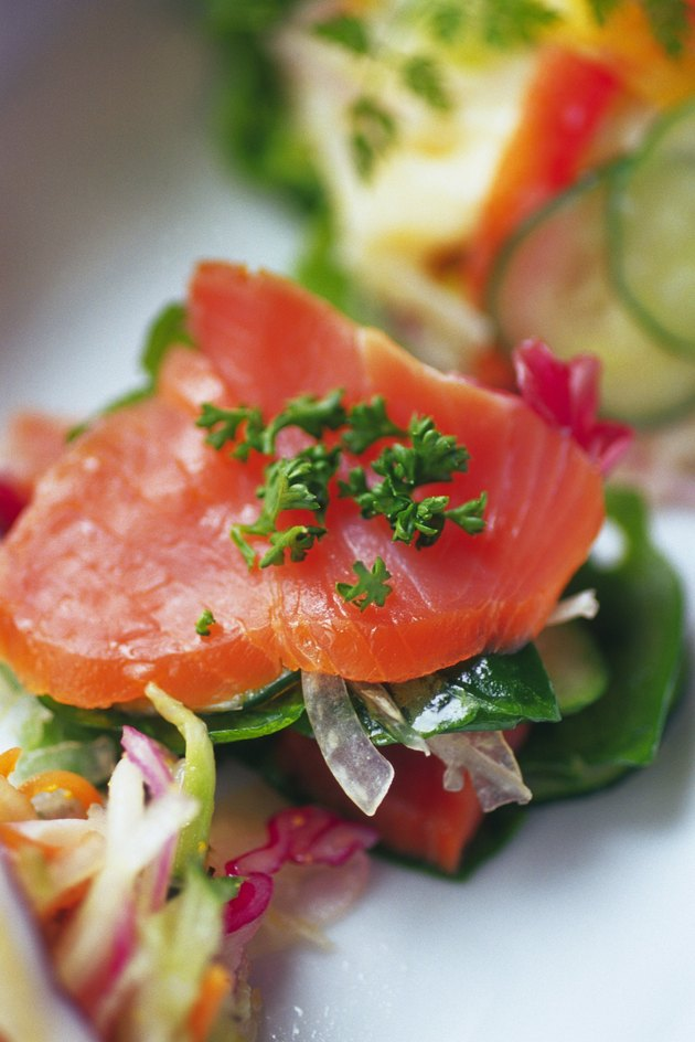 Smoked salmon salad on plate, Differential Focus, Close Up