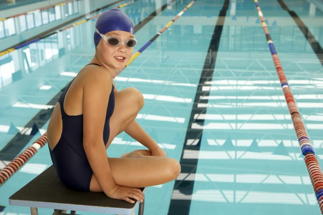 young female swimmer at swimming pool