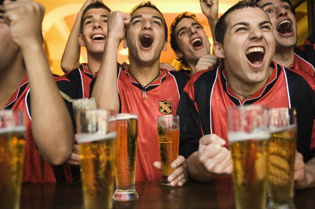 Soccer Fans Cheering in Bar