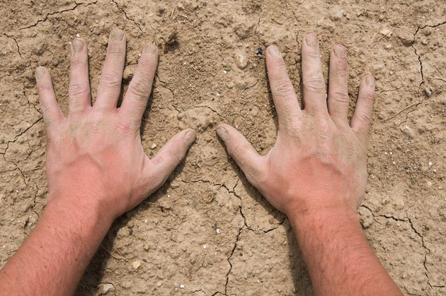 Hands of farmer on soil during drought