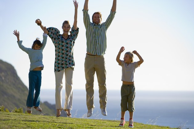 Family jumping together