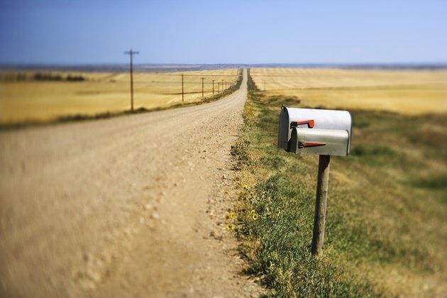 Mailbox on rural dirt road