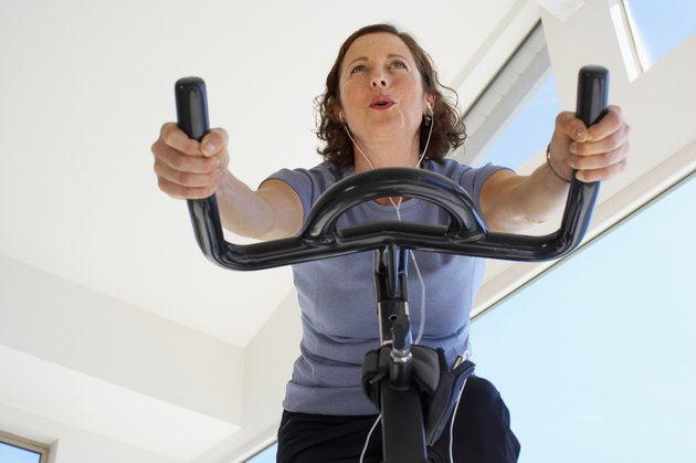 Woman Riding a Stationary Bike