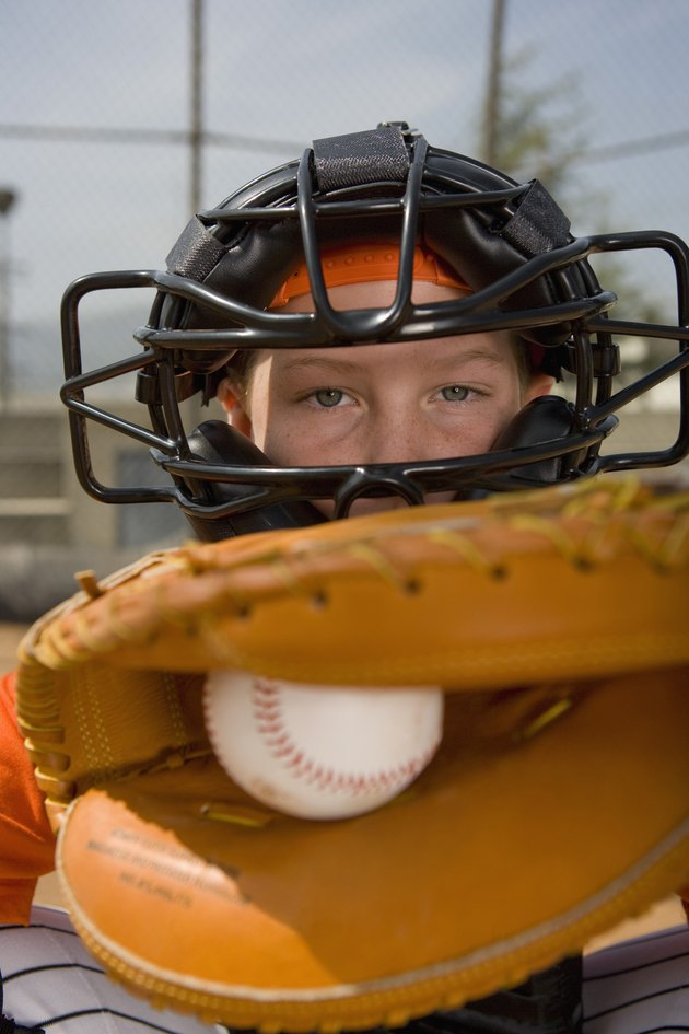 Portrait of little league catcher