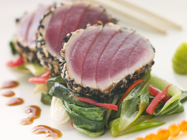 Seared Yellow Fin Tuna with Sesame Seeds Sweet Fried pac Choi and Salmon Roe
