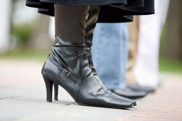 Woman wearing high heeled boots