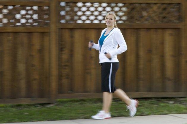 Happy woman Power walking