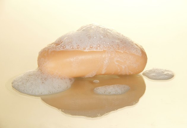 Piece of soap with bubbles