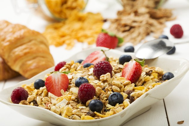 Light, delicious breakfast with cereal and fruit.