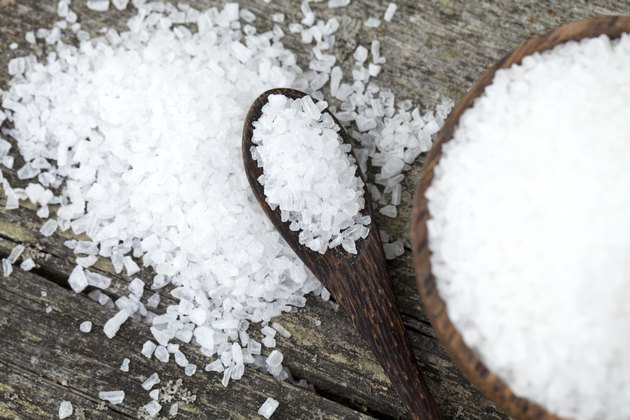 sea salt on wooden table