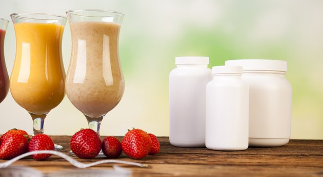 Healthy diet, protein shakes, sport and fitness