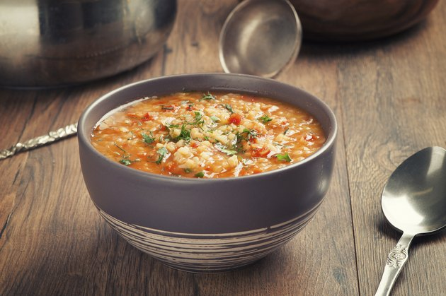 Vegetable soup with lentil and bulgur