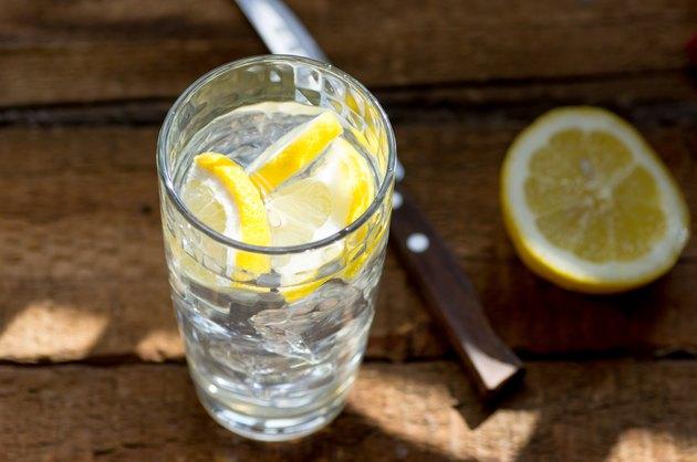 Glass of lemonade in the sunshine