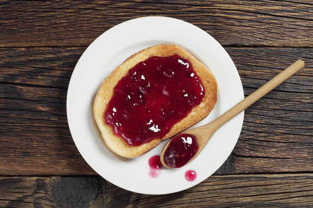 Fried bread with jam