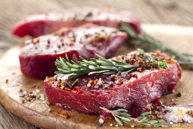Raw beef steak.