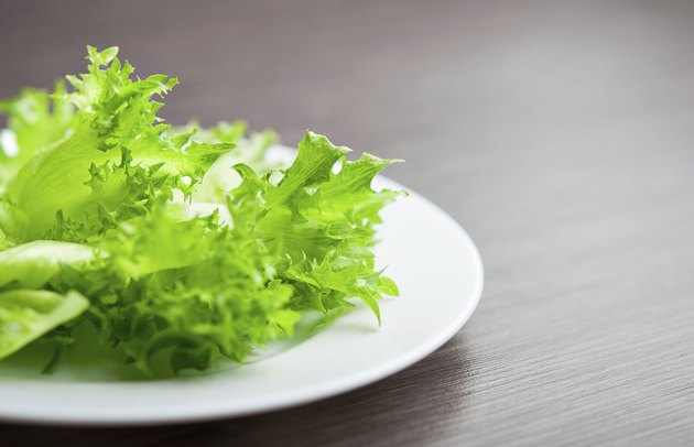 green lettuce on a plate close-up macro. diet concept
