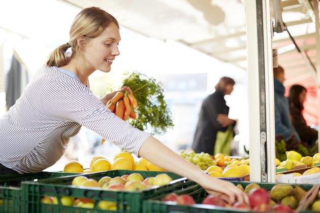 Pregnant woman at market