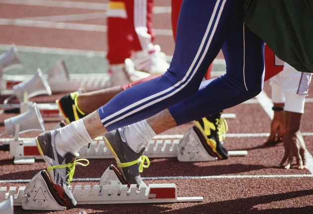 Two runners at starting blocks, Seoul Olympics, Close-up of legs