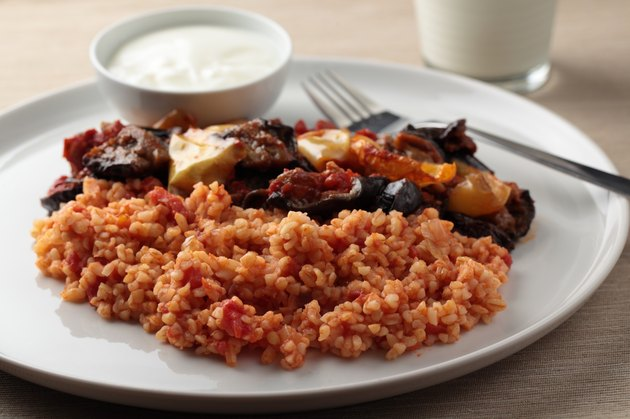 Bulgur pilaf and Greek yogurt