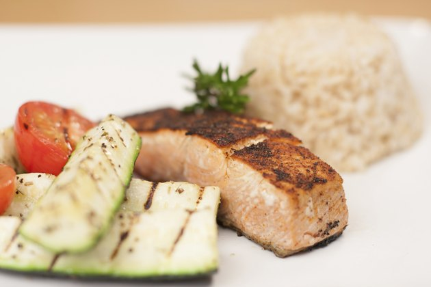 Blackened Salmon with Brown Rice and Grilled Vegetables